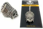Indian Skull Motorcycle Biker Bell Accessory With Matching Zipper Pull Set