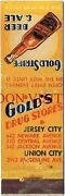 1930s Gold Stripe Beer/ale Jersey City New Drug Stores Matchcover Tavern Trove