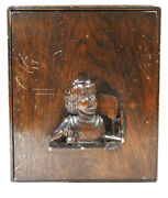 Antique Wood Childs Lap Desk W/ Mirror Compartments Vanity Carved Figure On Lid