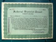 Federal District Trust Stock Certificate 2 Different Payee 1 Person Uncancelled