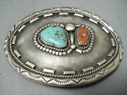 Tremendous Vintage Navajo Turquoise And Coral Sterling Silver Buckle