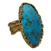 Vintage Navajo 18k Yellow Gold And High Grade Turquoise Native American Ring 24.2g
