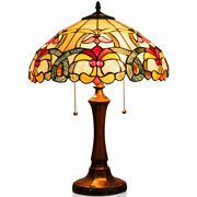 Gymax -style Victorian 2-light Table Lamp With 16and039and039 Stained Glass Shade