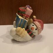 Fitz And Floyd Snowman And Present Set Salt And Pepper Shakers Decorative Decor