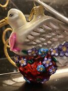 Christopher Radko Wings Of Love Breast Cancer Glass Christmas Ornament