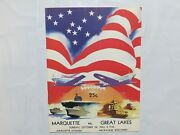 Great Lakes Vs Marquette Football Game Program October 24 1943 Rare 1h