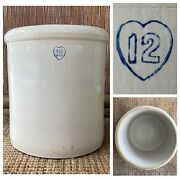 Antique Stoneware 12 Gallon Crock Blue Heart 16andrdquo X 19andrdquo Pay At Local Pick Up Only
