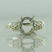 Semi Mount 18k White Gold Ring Oval New Year Cabusion Cut Party Jewelry
