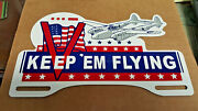 Ww2 Keep Em Flying Lockheed P-38 Lightning Aircraft License Plate Topper Victory