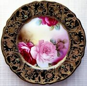 7 Nippon Antique Porcelain Hand Painted 24k Gold Decorative / Display Plate