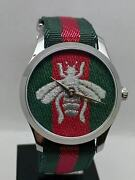 G-timeless Ya1264148 Green And Red Bee Dial Unisex Swiss Watch 38 Mm