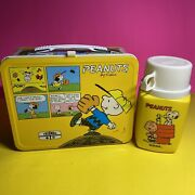 Vintage Peanuts Thermos Lunchbox Baseball Charlie Brown And Snoopy / Bg