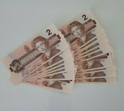 Canadian 1986 Two Dollar Bills Uncirculated Lot Of 20 Sequential Serial Numbers