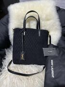 Black Saint Laurent Ysl Toy Mixed Leather Logo Shopper Tote Bag Nwt Msrp 1850