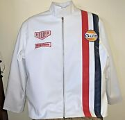Steve Mcqueenandrsquos Lemans Movie White Gulf Racing Leather Jacket 2x