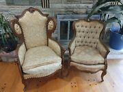 Vintage 20th Century Antique French Tufted Carved Wood Wingback Chairs Pair