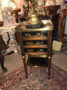 French Louis Xvi Solid Mahogany Small Chiffonier Table Hand Painted Early 20th C