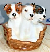"""Vintage Royal Doulton Figurine Jack Russell Puppies Dogs In Basket Hn 2588 3"""" T"""