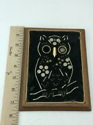 Vintage Owl Plaque Needle Point Buttons Buckles Wooden Frame Wall Hanging 7.5