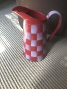 Vintage French Enamelware Red-white Check Pitcher. Mint Condition.