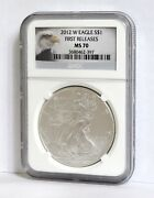2012-w Burnished American Silver Eagle Ms-70 Ngc First Release Flawless