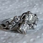18k White Gold Or Platinum 1tcw European Cut 5.mm 4.mm .1 Or.2 Mm Cluster Ring
