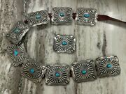 Native American Running Bear Shop Sterling Turquoise Large Concho Leather Belt