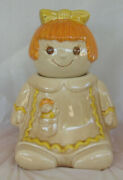 Metlox Poppytrail Girl Doll Yellow Bow Cookie Jar 1978 Made In Calif Marked