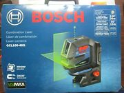Bosch Self-leveling Cross-line Laser With Plumb Points Green Beam Gcl100-40g New