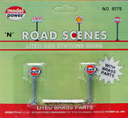 Model Power N Scale Lighted Gas Station Signs - Gulf