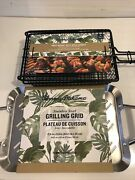 Tommy Bahama Stainless Steel Grilling Grid And Grill Basket With Wood Handle New