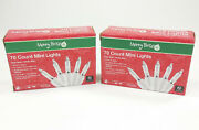 Lot Of 2 70 Count Mini Lights Clear Bulb / White Wire 15and039 - Christmas /wedding
