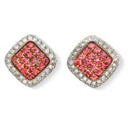 1.80 Ct Natural Pink Sapphire And 1.68 Ct Diamonds In 18k White Gold Earrings