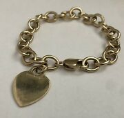 Vintage Rare And Co 14k Solid Yellow Gold Heart Tag Charm Bracelet 34.61g