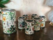 Flora, Set 6 Wine Coolers For Cups And 1 For Bottle, Vintage Ages 70