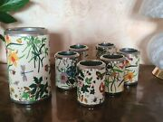 Flora, Set 6 Wine Coolers For Glasses And 1 For Bottle, Vintage Years 70