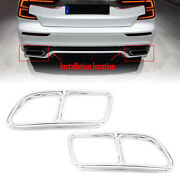 Silver Rear Exhaust Muffler Tail Pipe Cover Trim For Volvo S60 V60 2014-2019 18