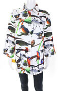 Sophy Curson Womens Graphic Bird Print Quilted Jacket White Size Small
