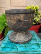 South Indian Antique Hand Carved Wooden Kitchenware Grinding/pounding Mortar Pot