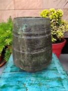 Indian Antique Hand Carved Wooden Kitchenware Large Grain/flour Container Pot