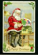 Red Robesanta Claus Painting Toysantique Embossedchristmas Postcard-h796