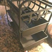 Pottery Barn Basket Drawers Antique Bronze Metal Mission Modular Pantry New