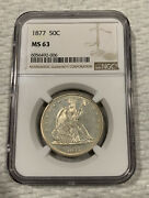 1877 Liberty Seated Silver Half Dollar 50c Ngc Ms63 Proof Like Features