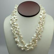 Fine 19 White Keshi Pearl 3 Strand Necklace Sterling Silver Clasp By Luc Cn