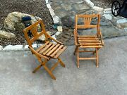 Rare Pair Of 1920s Childs Folding Wood Camp Deck Chairs 2 Antique Childrens