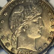 1897 25c Barber Quarter Ngc Certified Ms61 Tough Date In This Grade