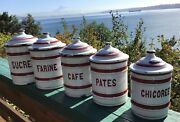 Vintage French Enamelware Canister Set White And Red Enamel 10 Pieces