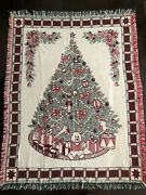 Vintage Crowncrafts Christmas Tree Tapestry Throw Blanket Cotton 46x61