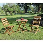 Wooden Foldable Bistro Set 1-table 2-chairs Indoor Outdoor Patio Furniture Brown