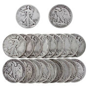 Walking Liberty Half Dollar Roll 90 Silver 10 Face 20 Mixed Date Coins
